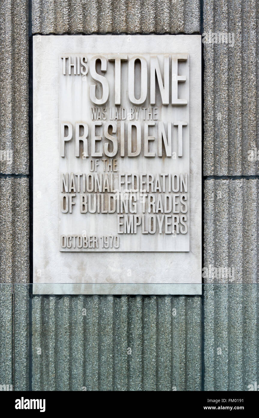 Foundation stone on Cantilever Court.  Building originally housed  Brixton School of Building and Polytechnic of - Stock Image