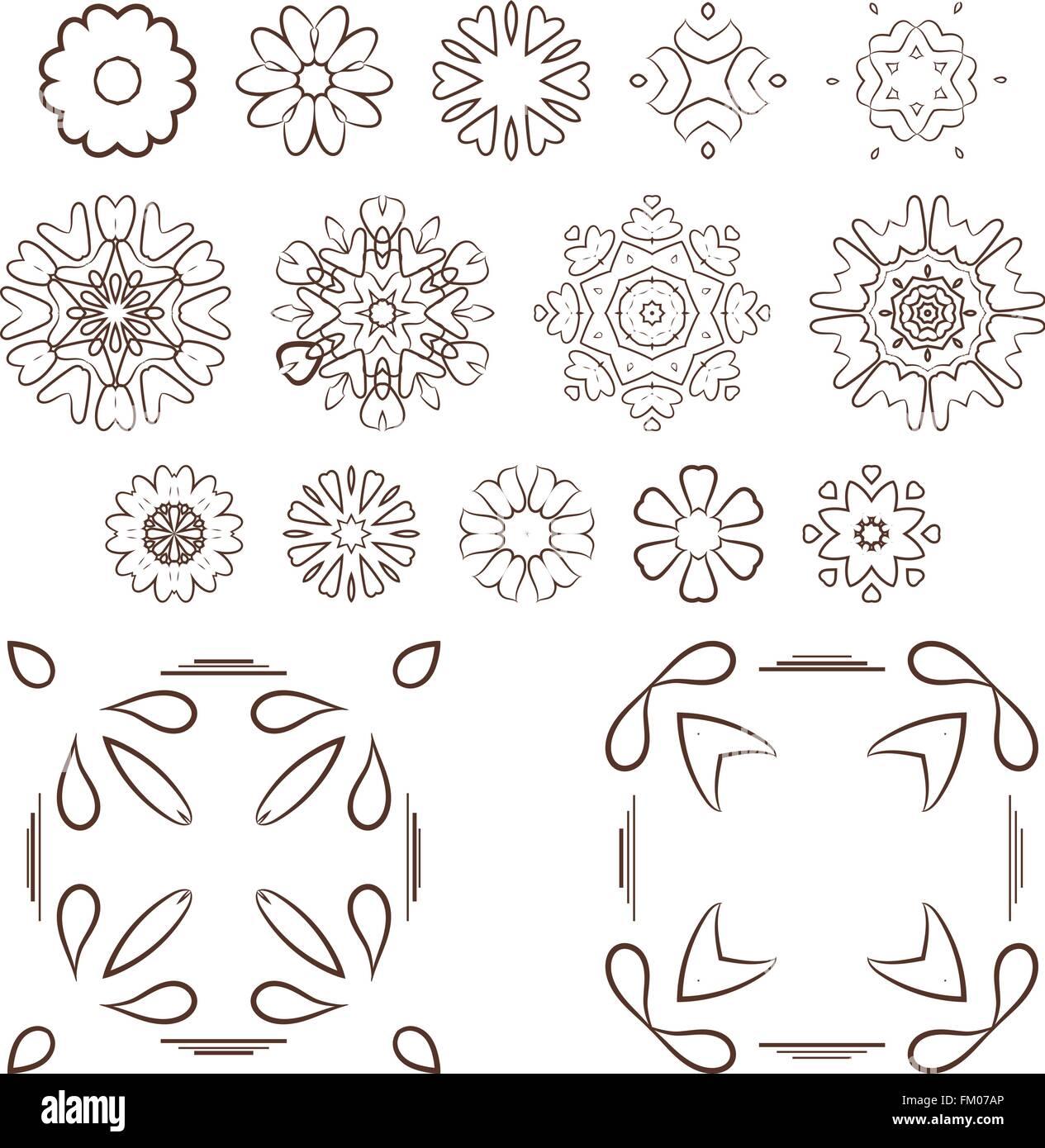 vector set of abstract floral and circular patterns mandalas stock