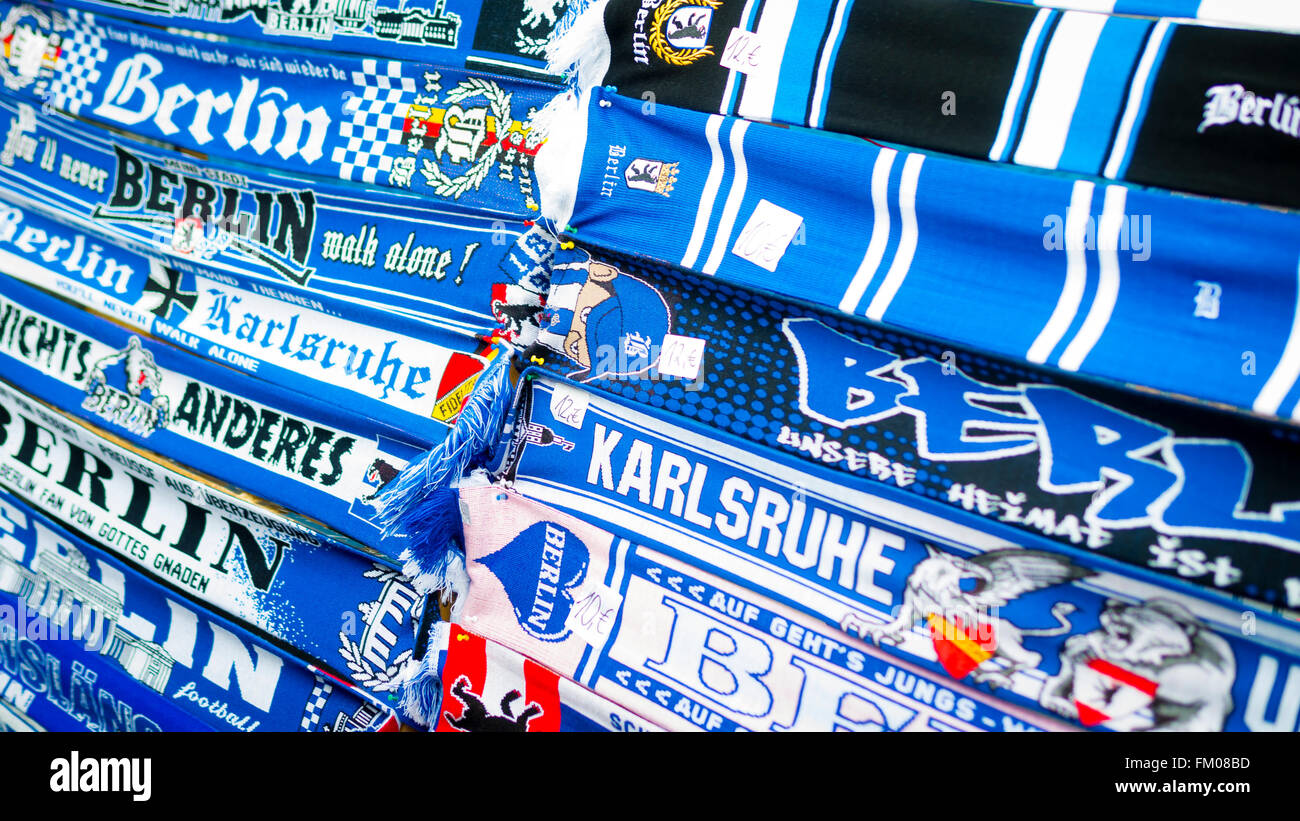 Hertha BSCGerman Football Team Scarves For Sale outside the Olympiastadion, Berlin, Germany - Stock Image