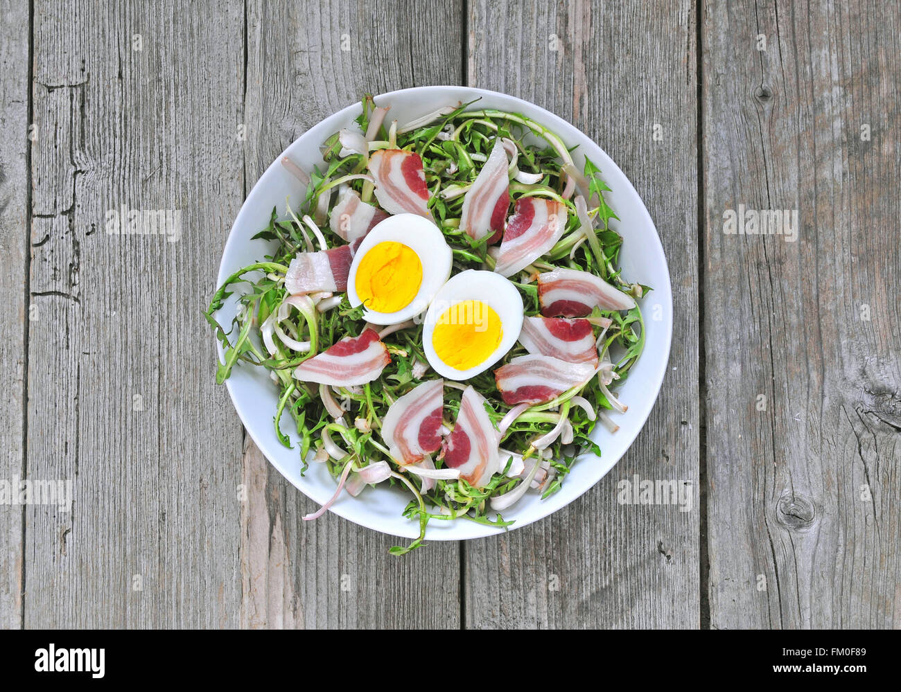 Fresh dandelion salad with boiled eggs and bacon - Stock Image