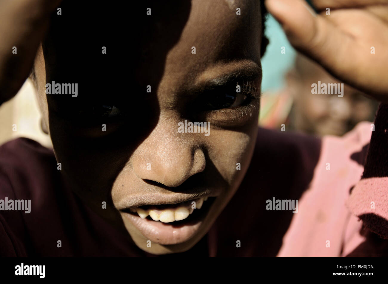 Close-up of a kid at the market of Addi Arkay, Amhara Region, Ethiopia Stock Photo