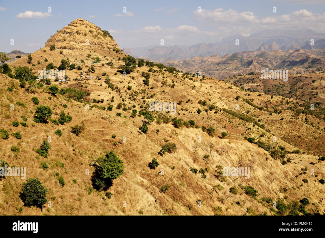 Hilly landscape outside Addi Arkay near Simien Mountains National Park, Amhara Region, Ethiopia Stock Photo