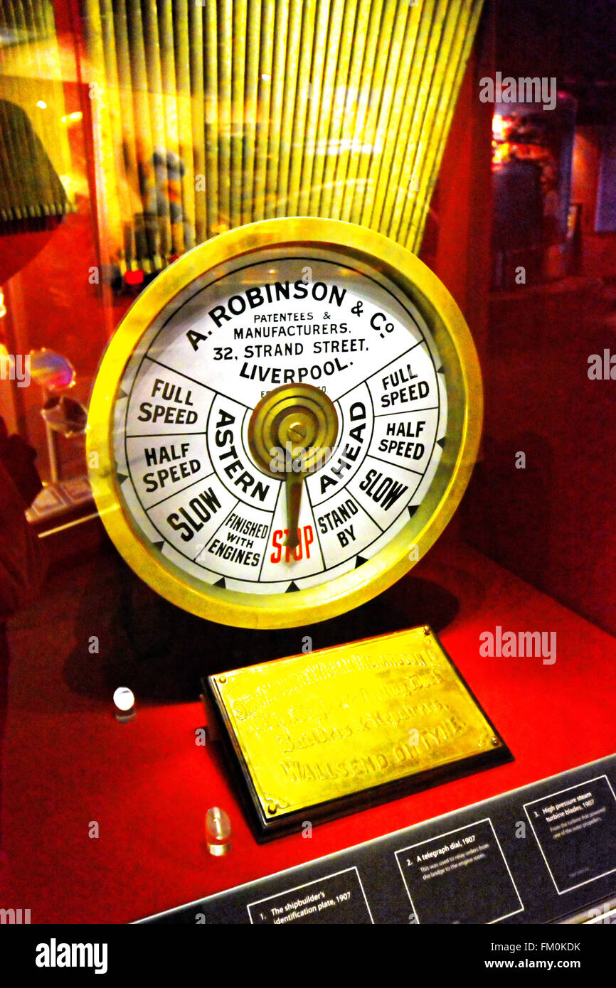 Mauretania engine telegraph control dial Newcastle Stock Photo