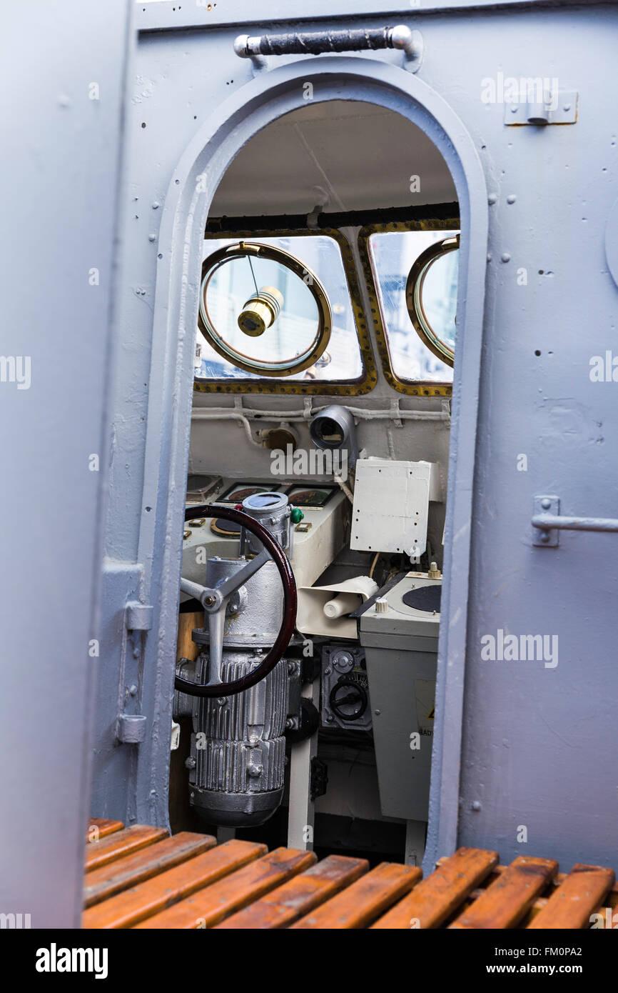 Warship control bridge view, selective focus - Stock Image