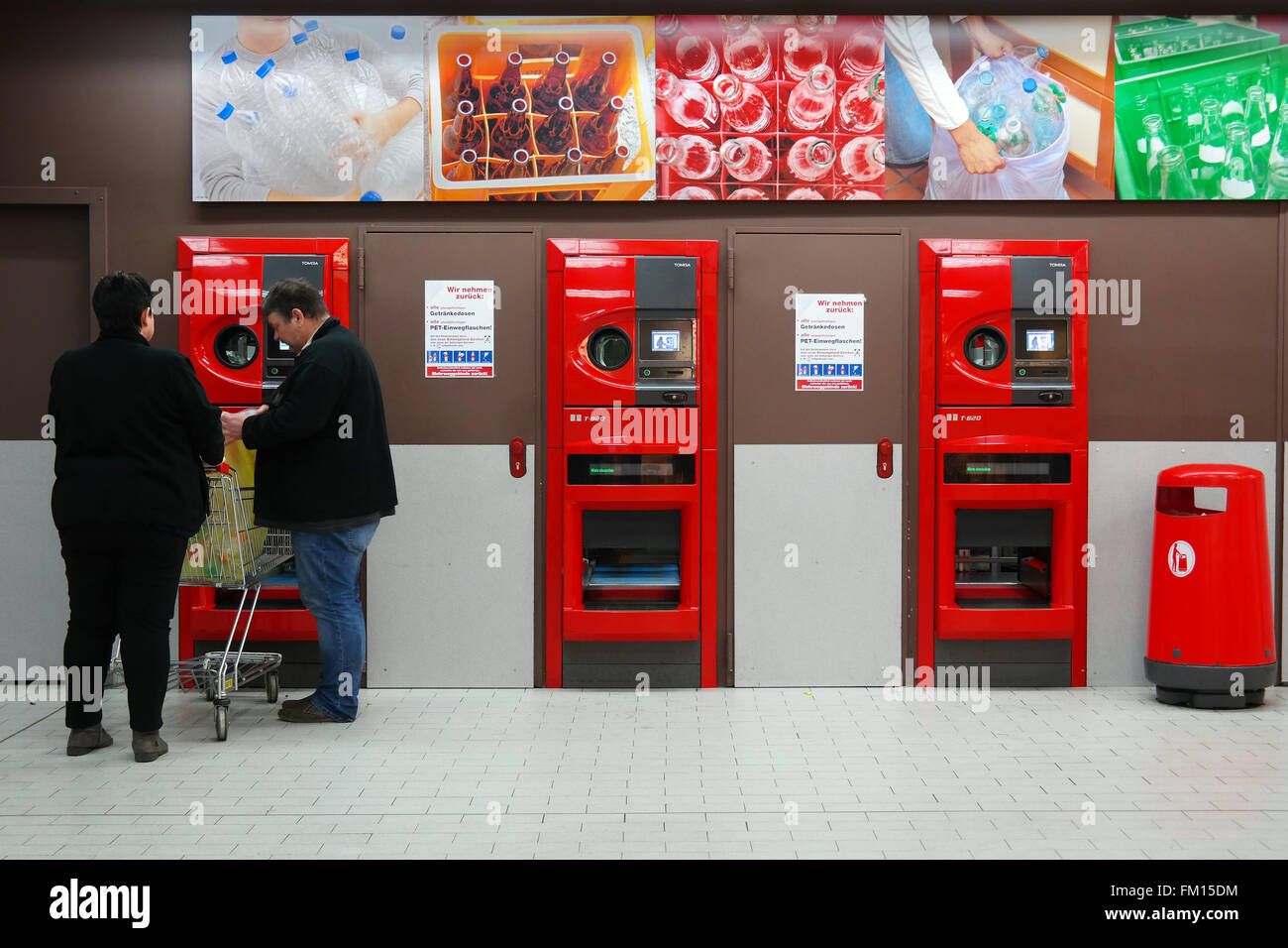 Reverse vending machine in an  in Germany. - Stock Image