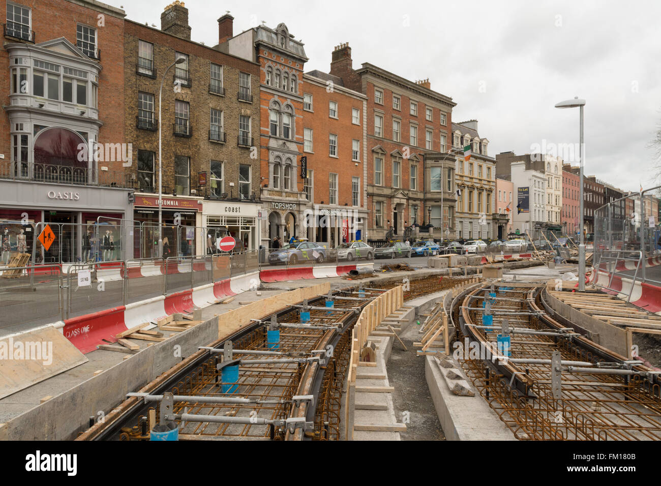 Luas tram Green Line extension construction, St Stephens Green, Dublin, Ireland - Stock Image