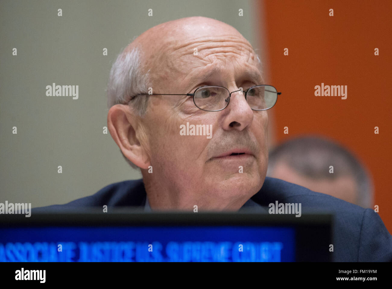 New York, United States. 10th Mar, 2016. US Supreme Court Justice Stephen Breyer offers remarks at the session. - Stock Image