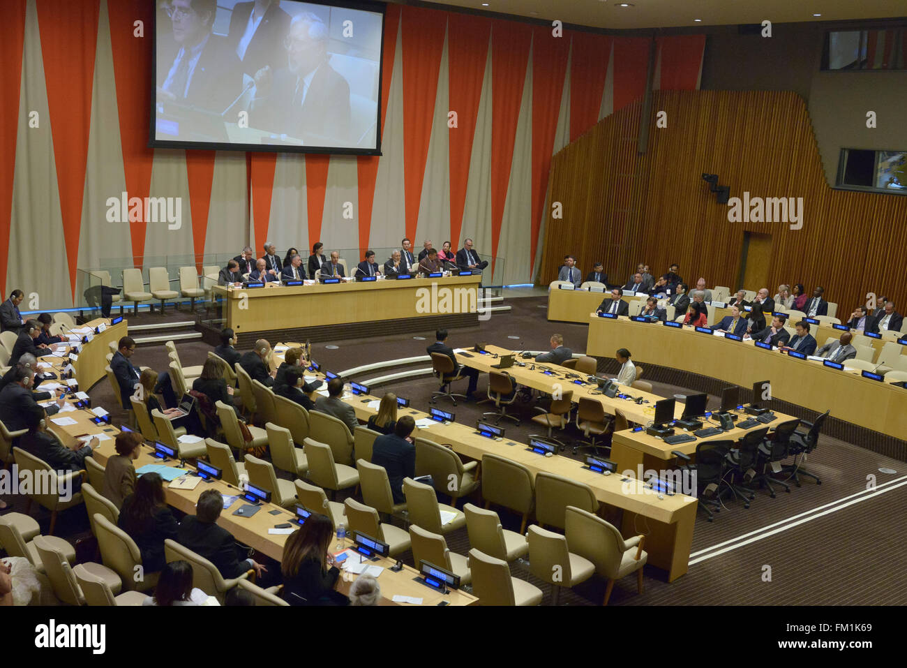 New York, United States. 10th Mar, 2016. The open briefing sits in session in ECOSOC Hall. The United Nations Counter - Stock Image