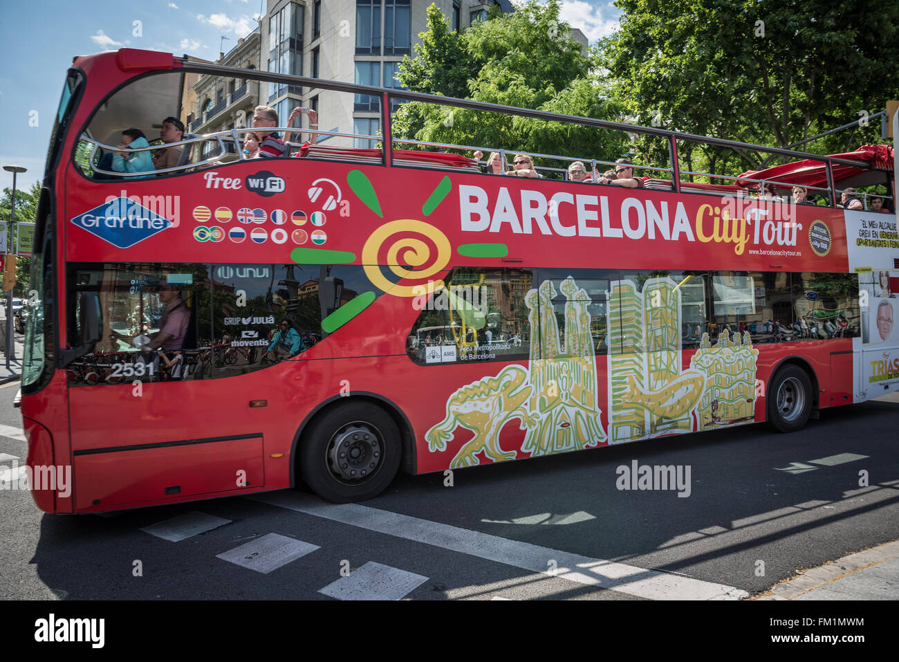 City Tour bus in Barcelona, Spain - Stock Image