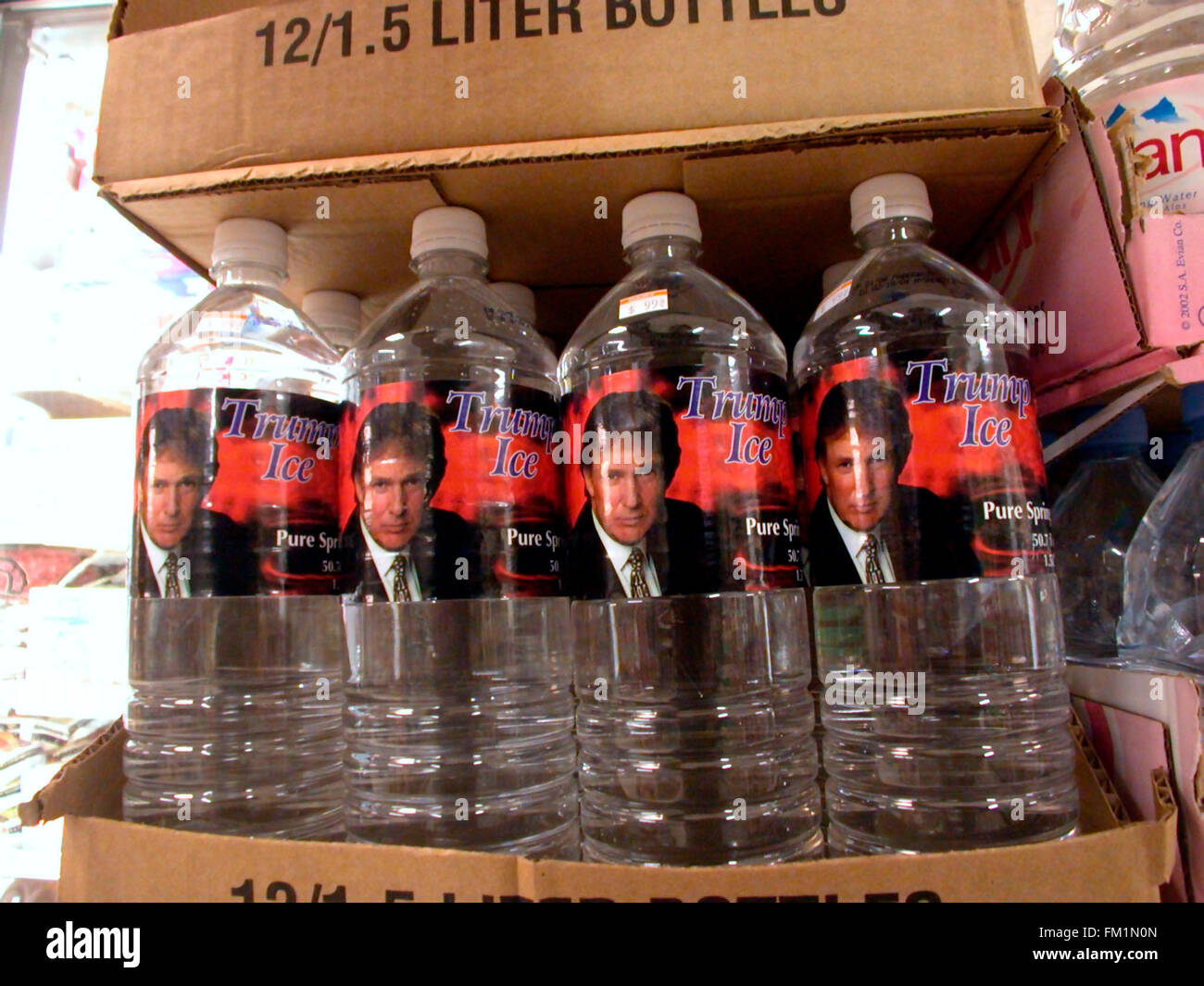 A display of 'Trump Ice' bottled water is seen in a supermarket on February 22, 2004. The bottled water - Stock Image