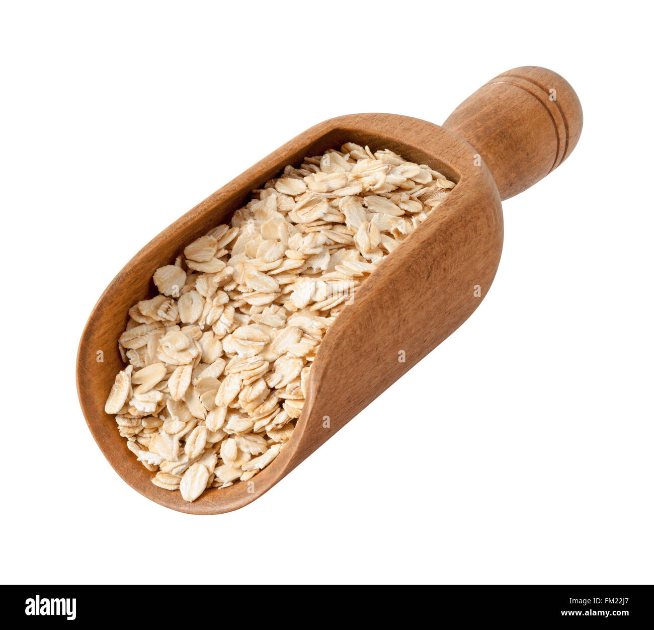 Organic Rolled Oats in a Wood Scoop. The image is a cut out, isolated on a white background. - Stock Image