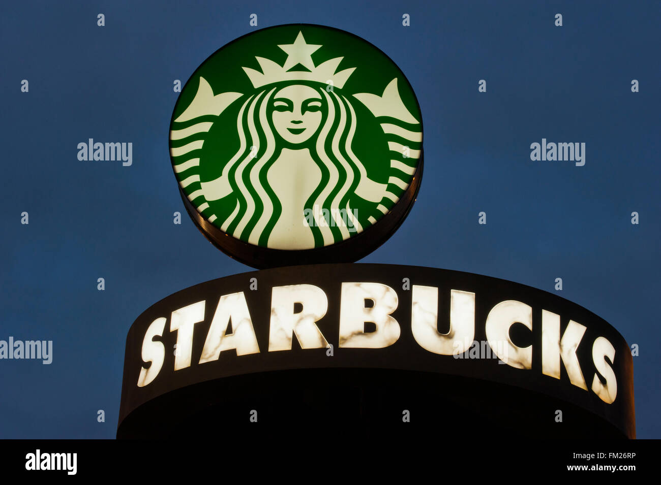 Starbucks logo at entrance to Corporate headquarters, Seattle, Washington - Stock Image