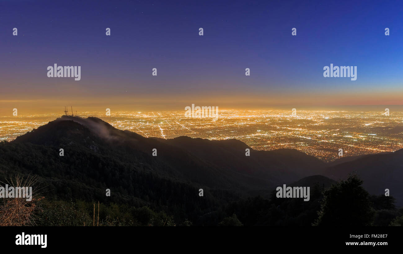 Great Los Angeles area night scape from top around twilight time - Stock Image