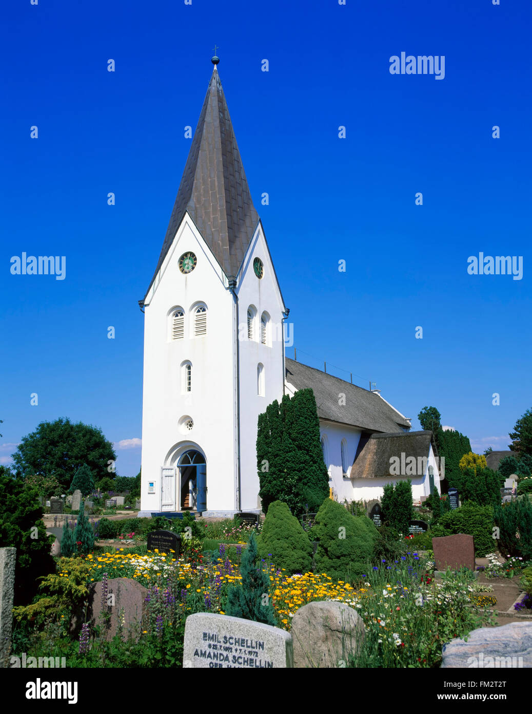 Clemens church in Nebel, Amrum island, North Sea, Schleswig-Holstein, Germany, Europe - Stock Image