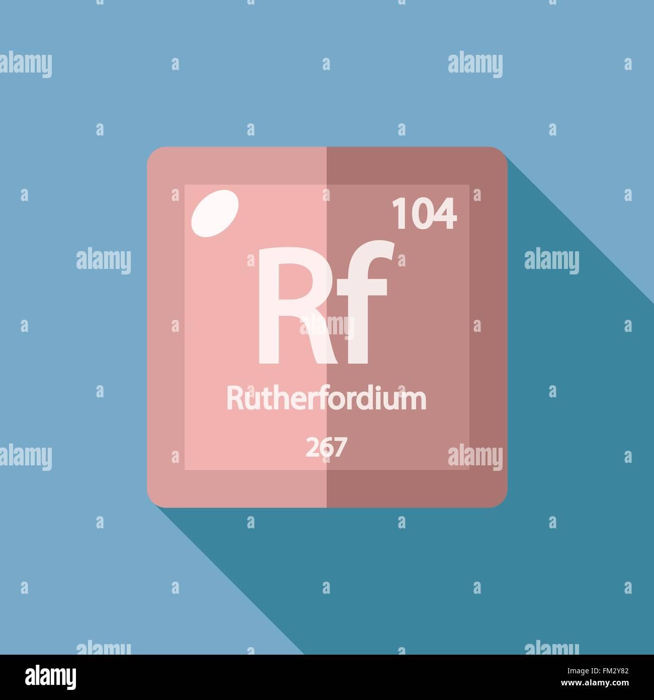Chemical element Rutherfordium Flat Stock Vector