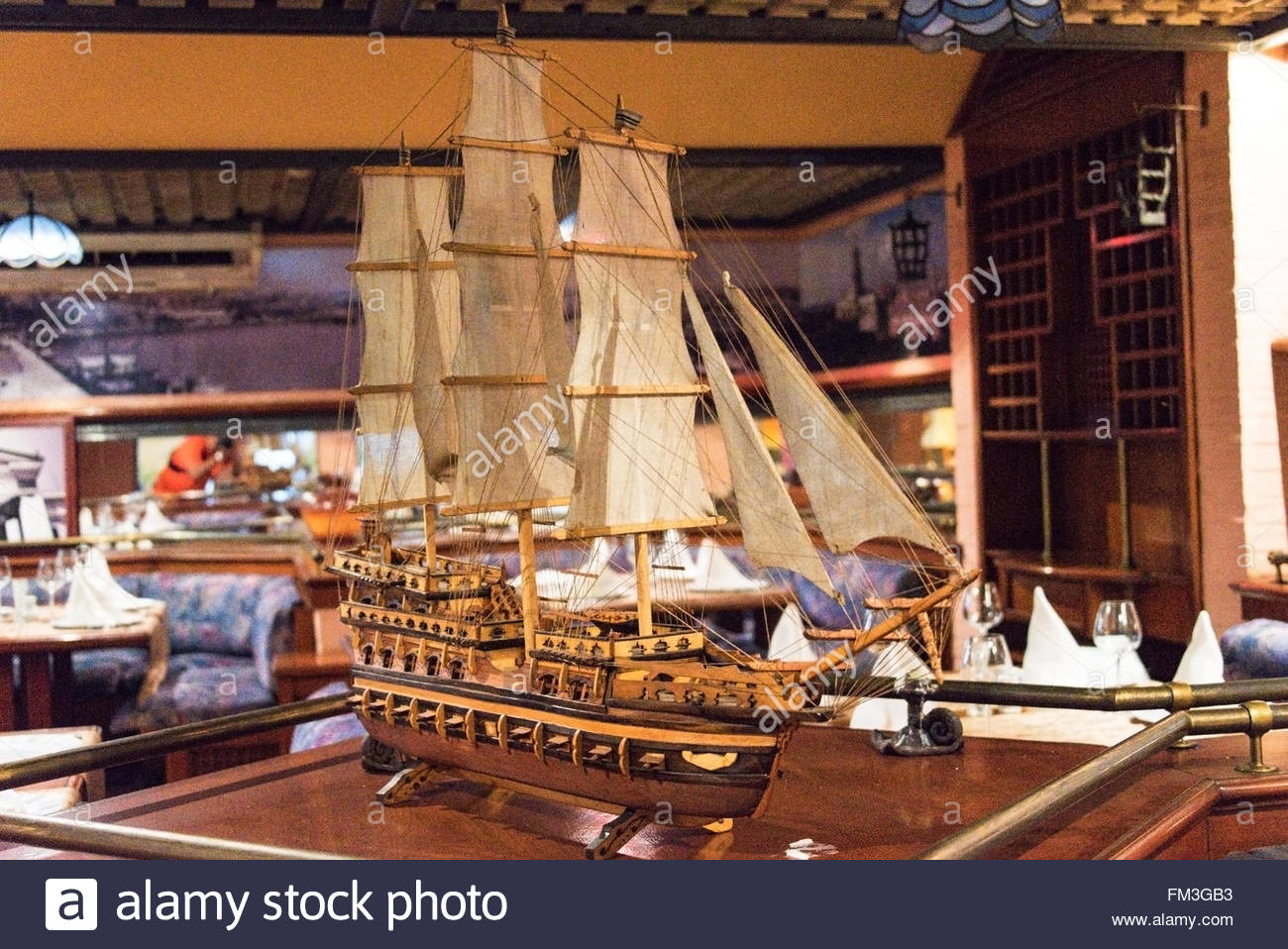 comodoro hotel miniature sail ship replica decorating the restaurant