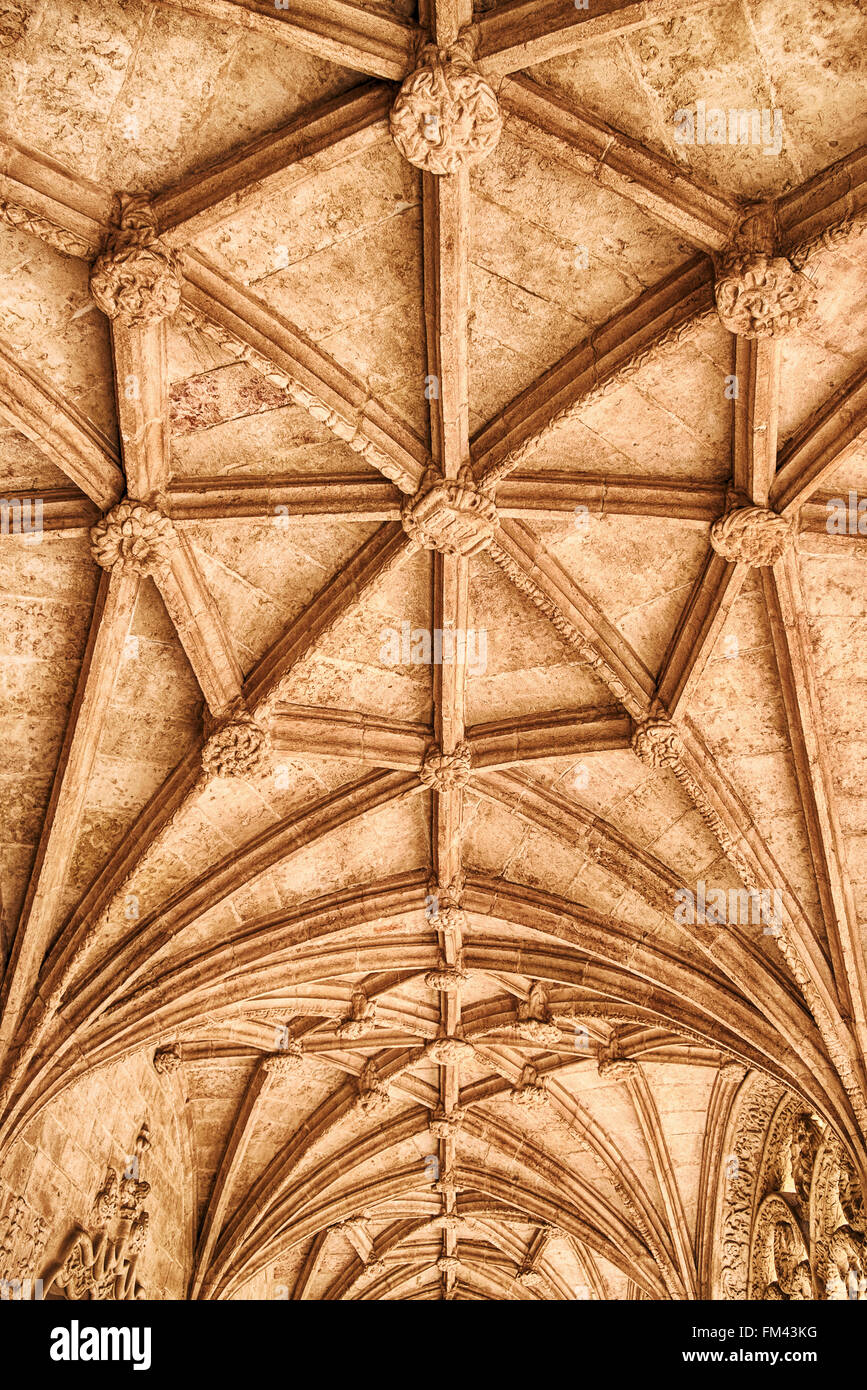 Ceiling In The Jeronimos Monastery - Stock Image