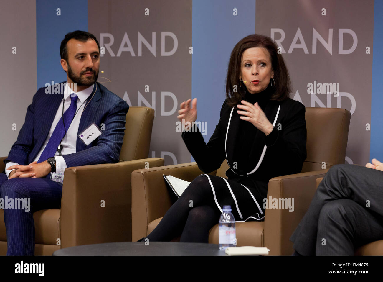 Hamid Biglari, Alireza Nader and Robin Wright speaking at Iran Deal conference - RAND Corporation, Arlington, Virginia - Stock Image