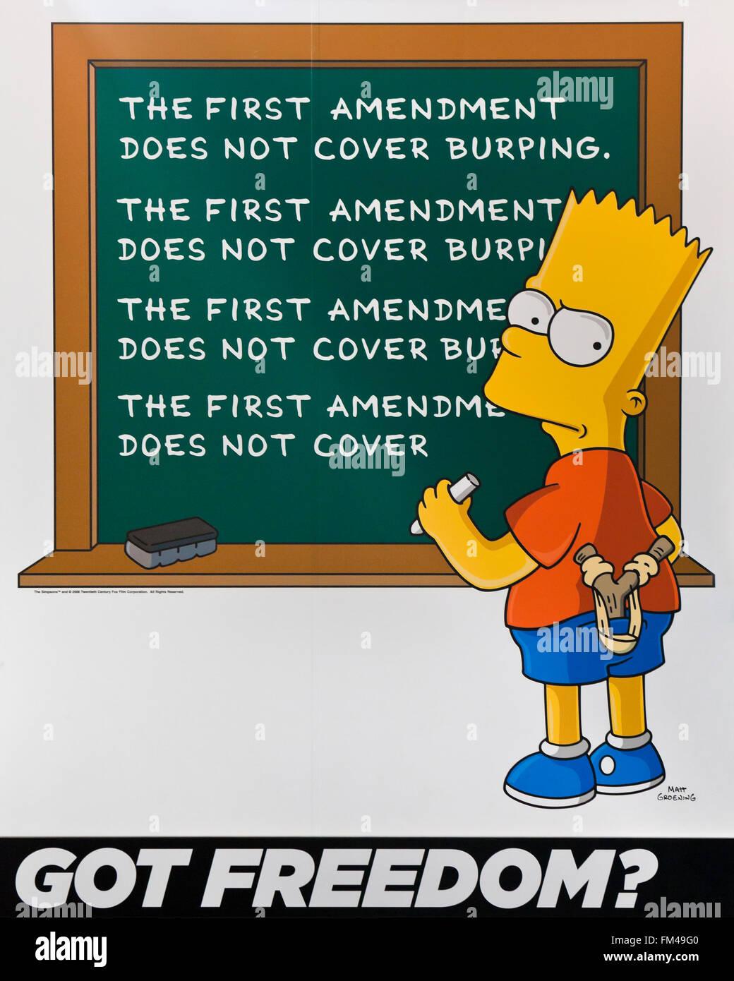 Bart Simpson First Amendment poster at the Newseum - Washington, DC USA - Stock Image