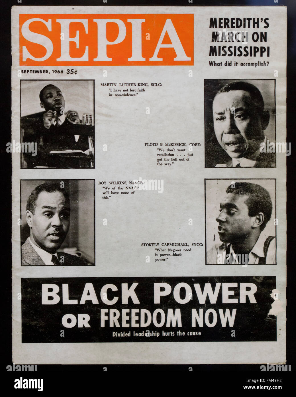 Sepia magazine cover, September 1966 issue (1960s civil rights movement) - USA - Stock Image