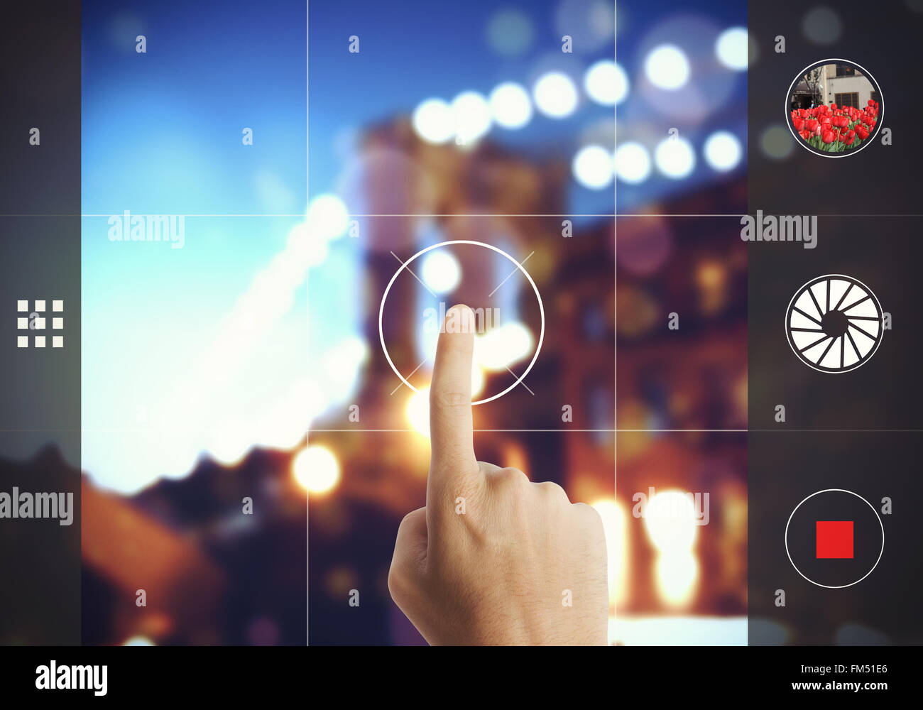 Photograph with touch screen - Stock Image