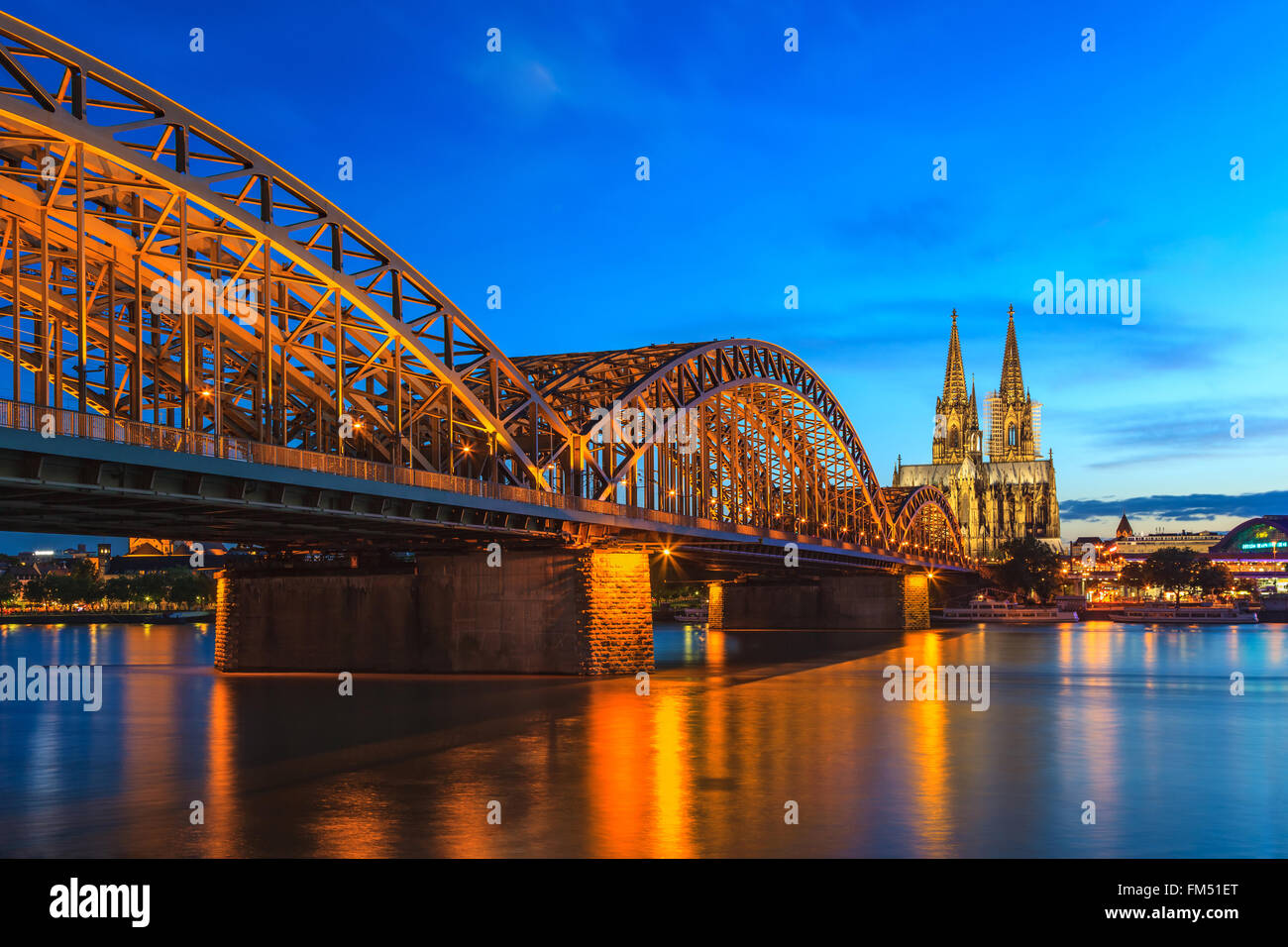 Cologne Cathedral at night, Cologne, Germany - Stock Image