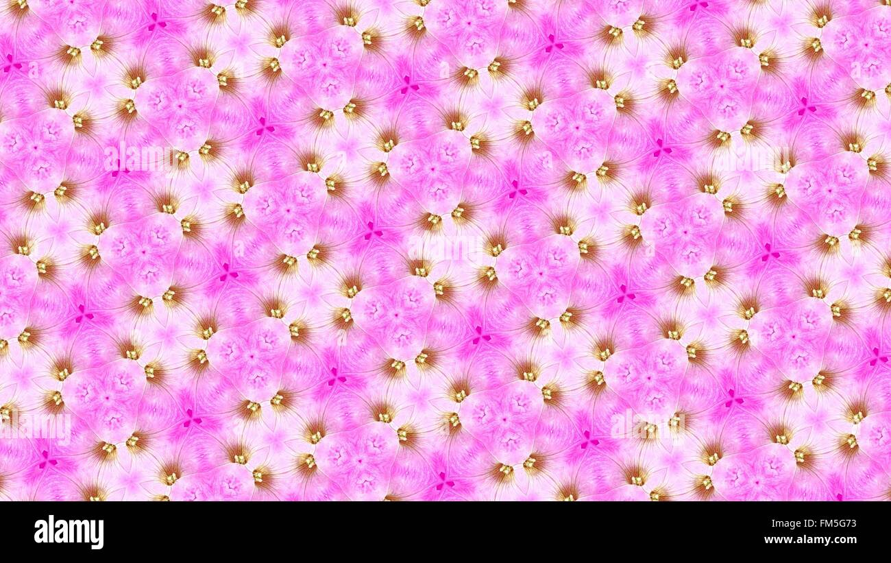 Pink yellow abstract flower pattern - Stock Image
