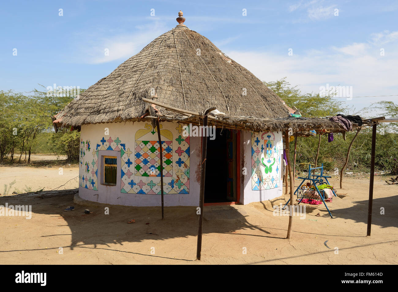 Traditionally Decorated Hut In The Tribal Village On Desert India Gujarat State