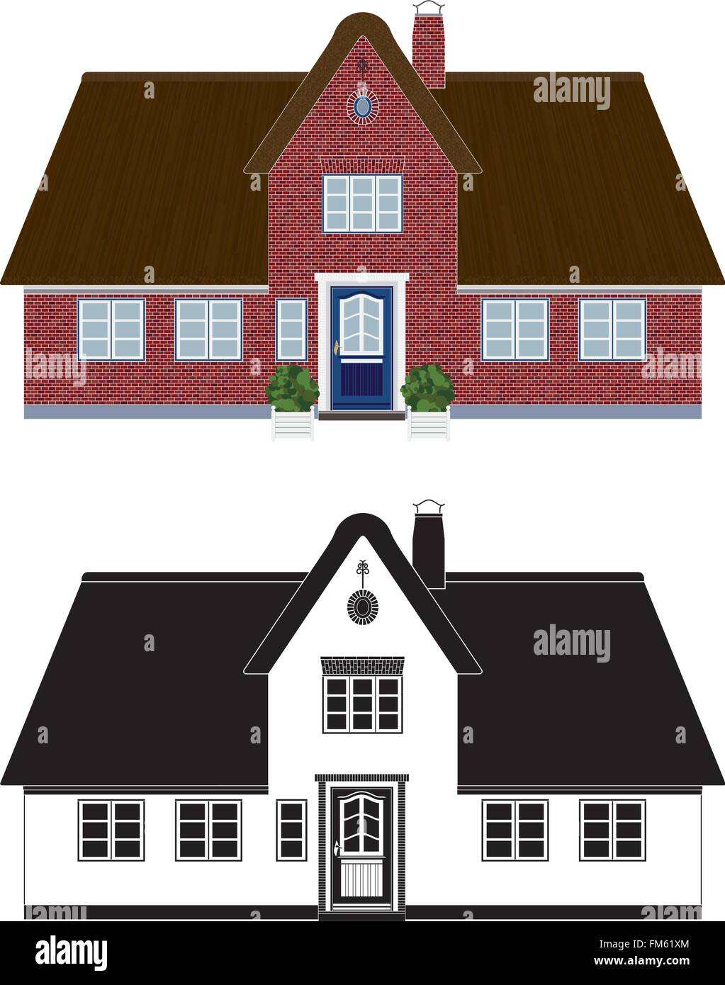 Northern european cottage with thatched roof, color and black and white version - Stock Vector
