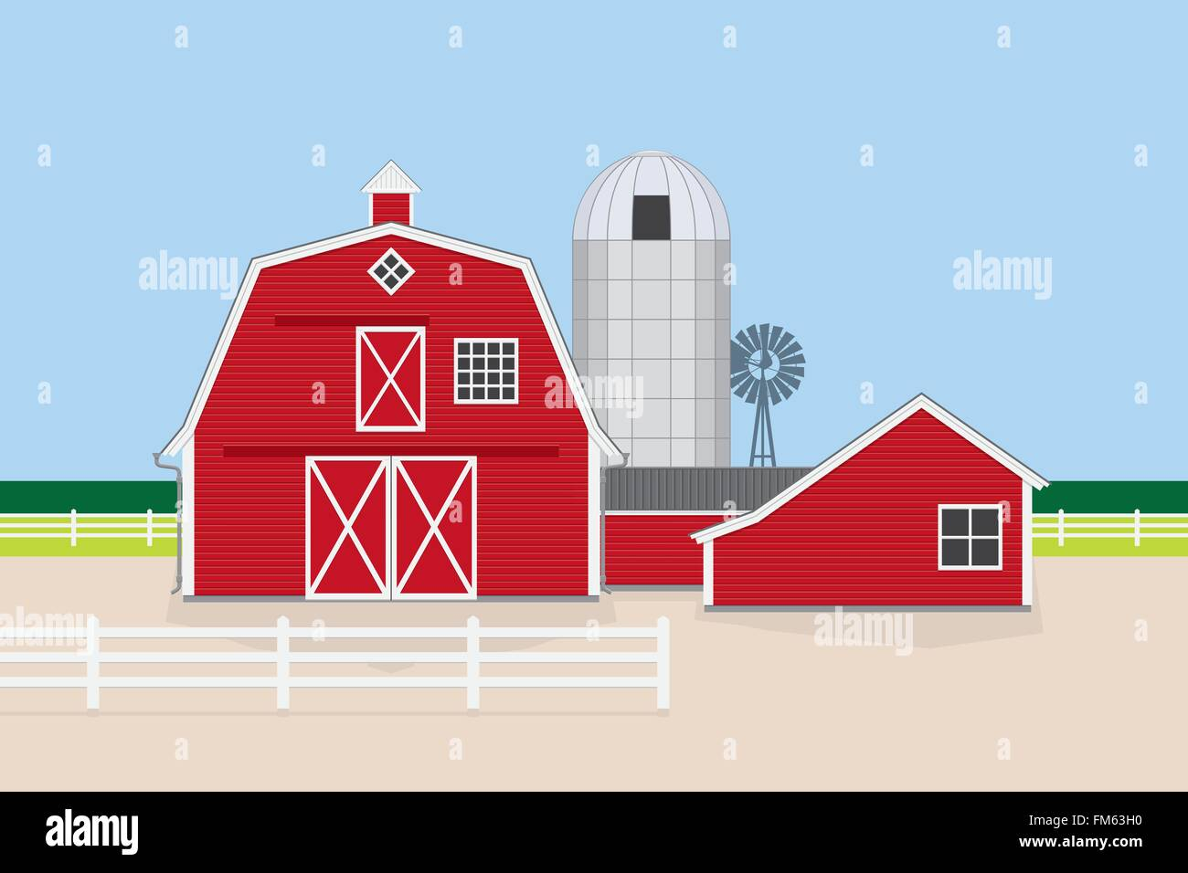 Vector Illustration Of Classic American Farm With Red Barn Farm