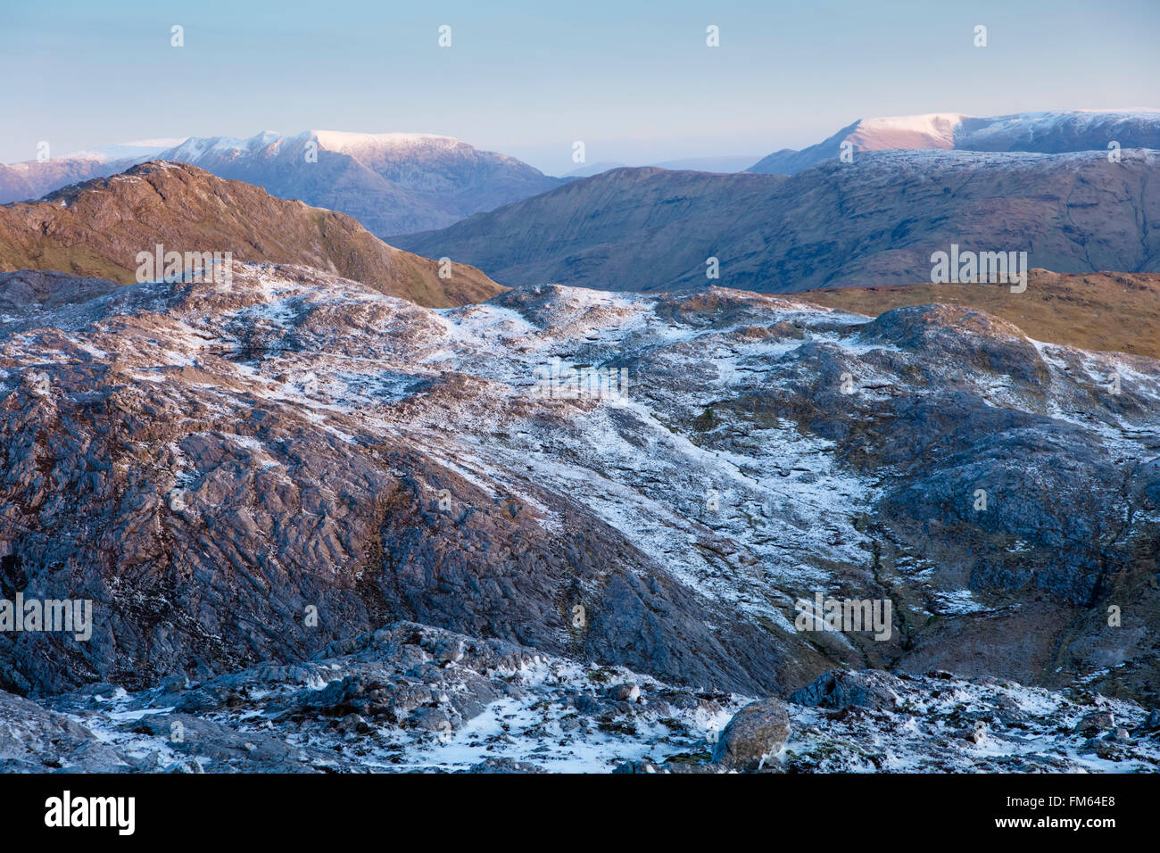 The northern Maumturk Mountains in winter, Connemara, County Galway, Ireland. - Stock Image