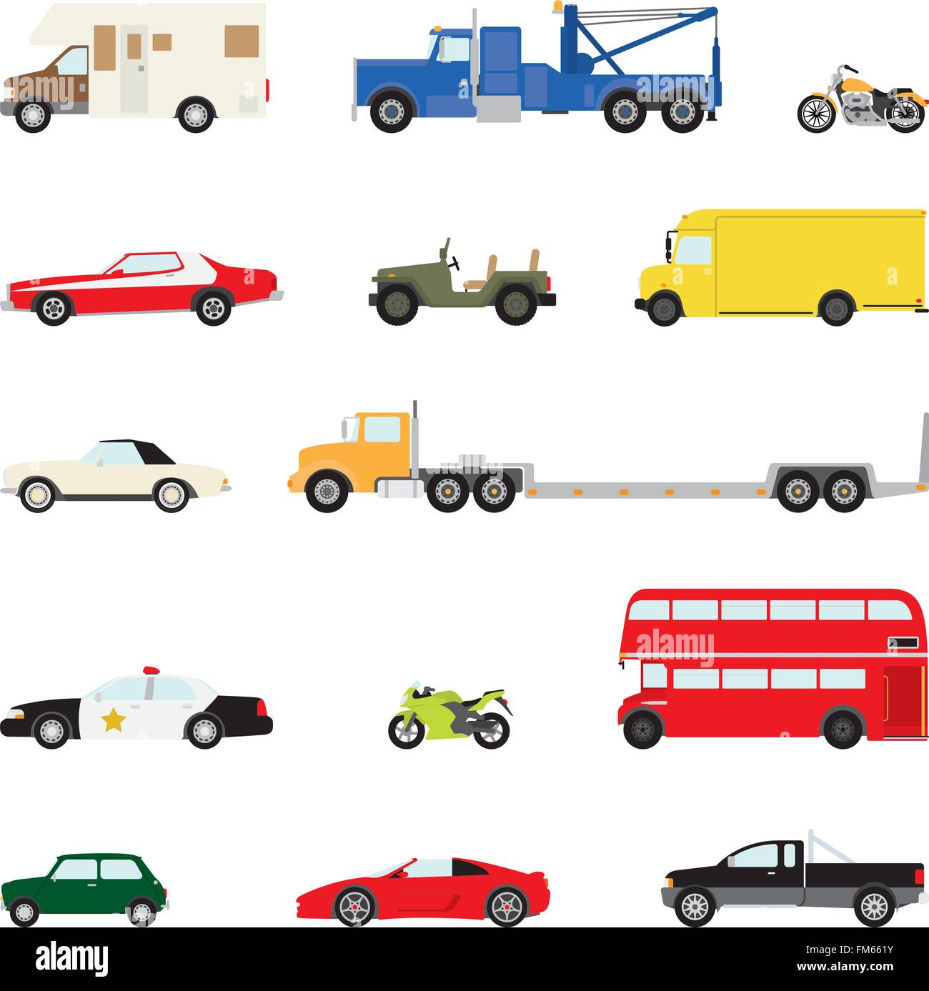 Set of fourteen motor vehicles, flat design, part 2 Stock Vector
