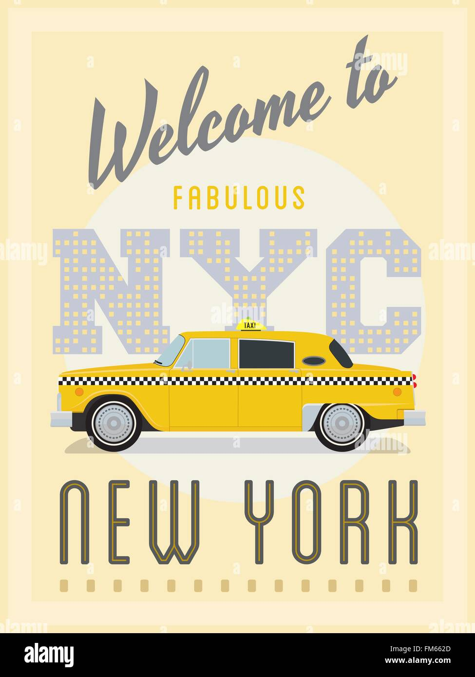 Poster New York Taxi.Vintage Style Poster Advertising New York With Yellow Taxi Cab Stock