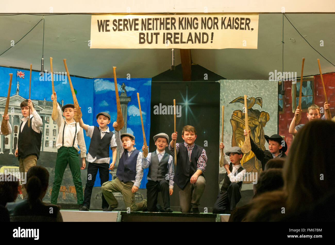 """School children in Dungloe, County Donegal, Ireland perform a play entitled """"Remembering Easter 1916"""" as part of Stock Photo"""
