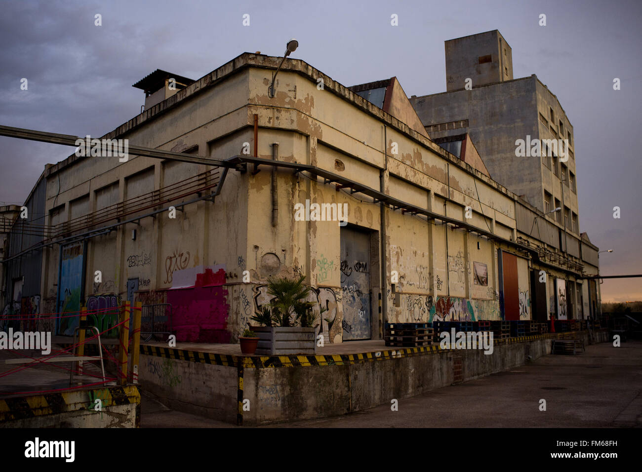 The Nau Bostik, an ancient factory converted into cultural and creative space in La Sagrera neighbourhood of Barcelona, - Stock Image