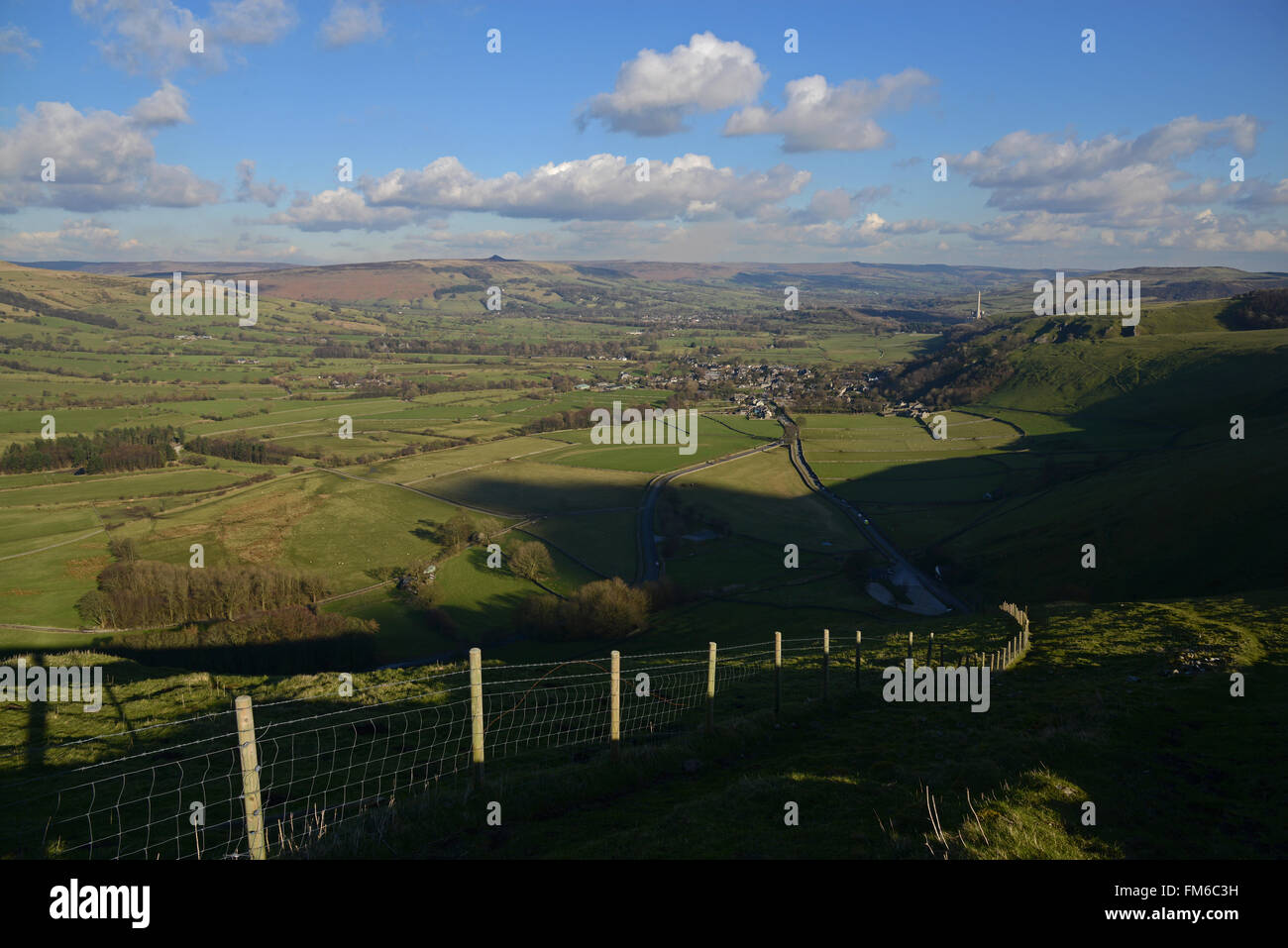 View of Hope Valley looking towards Castleton in the Peak District of Derbyshire, England. - Stock Image