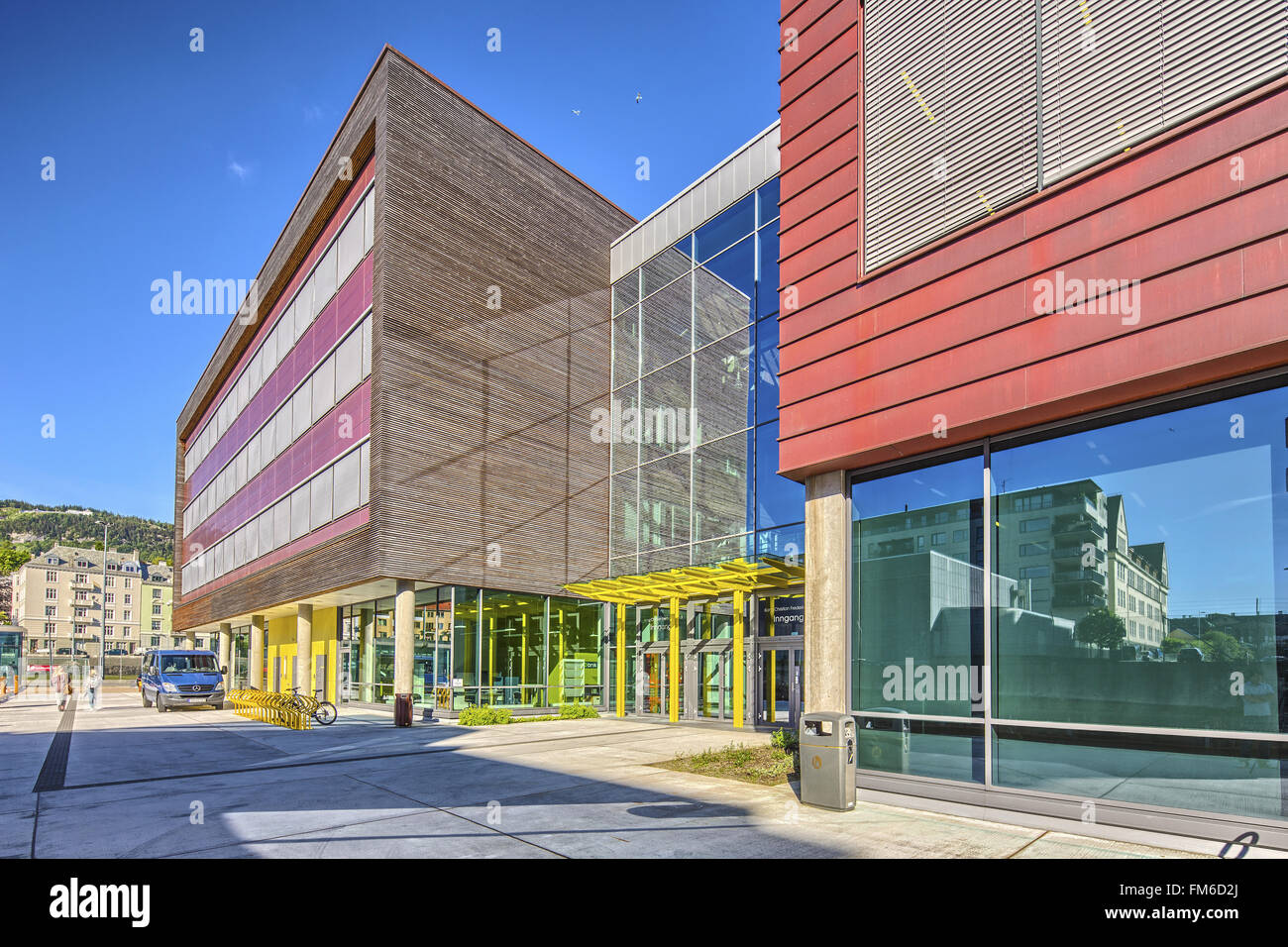 An exterior view of BI Bergen and Slippen building, designed by b+b Arkitekter as. - Stock Image