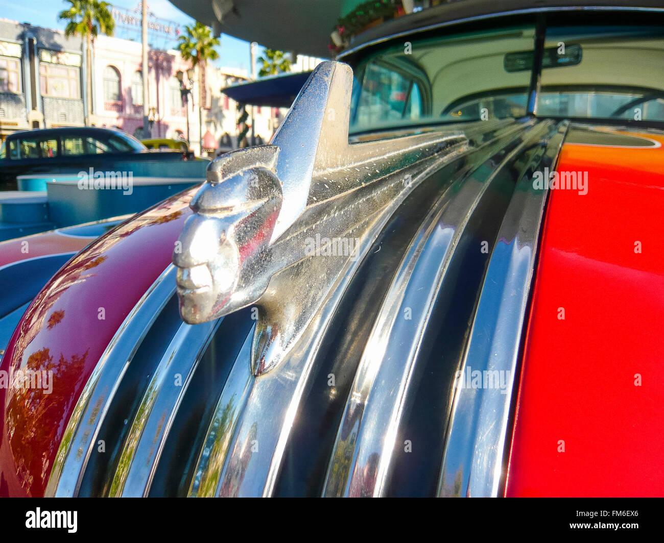 Hood ornament on a 1950's Pontiac car. - Stock Image