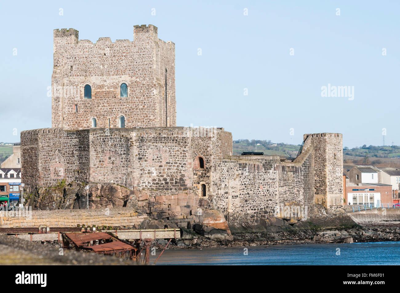 Carrickfergus Castle, the oldest part was built in the 11th Century by Norman invader John De Courcy - Stock Image