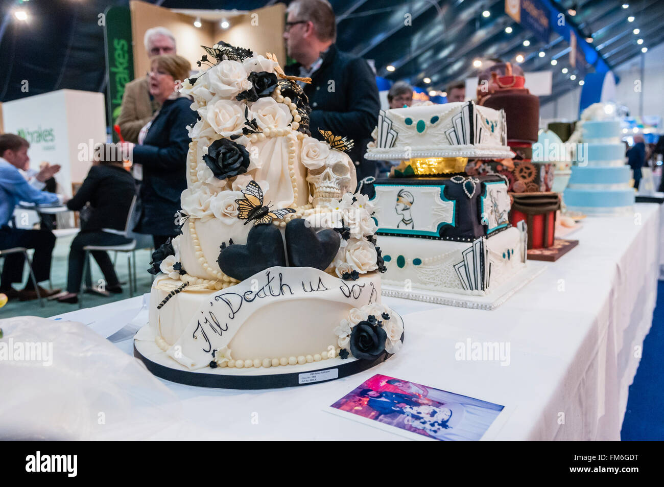 Cake craft exhibits from a competition, on display at a catering conference. - Stock Image