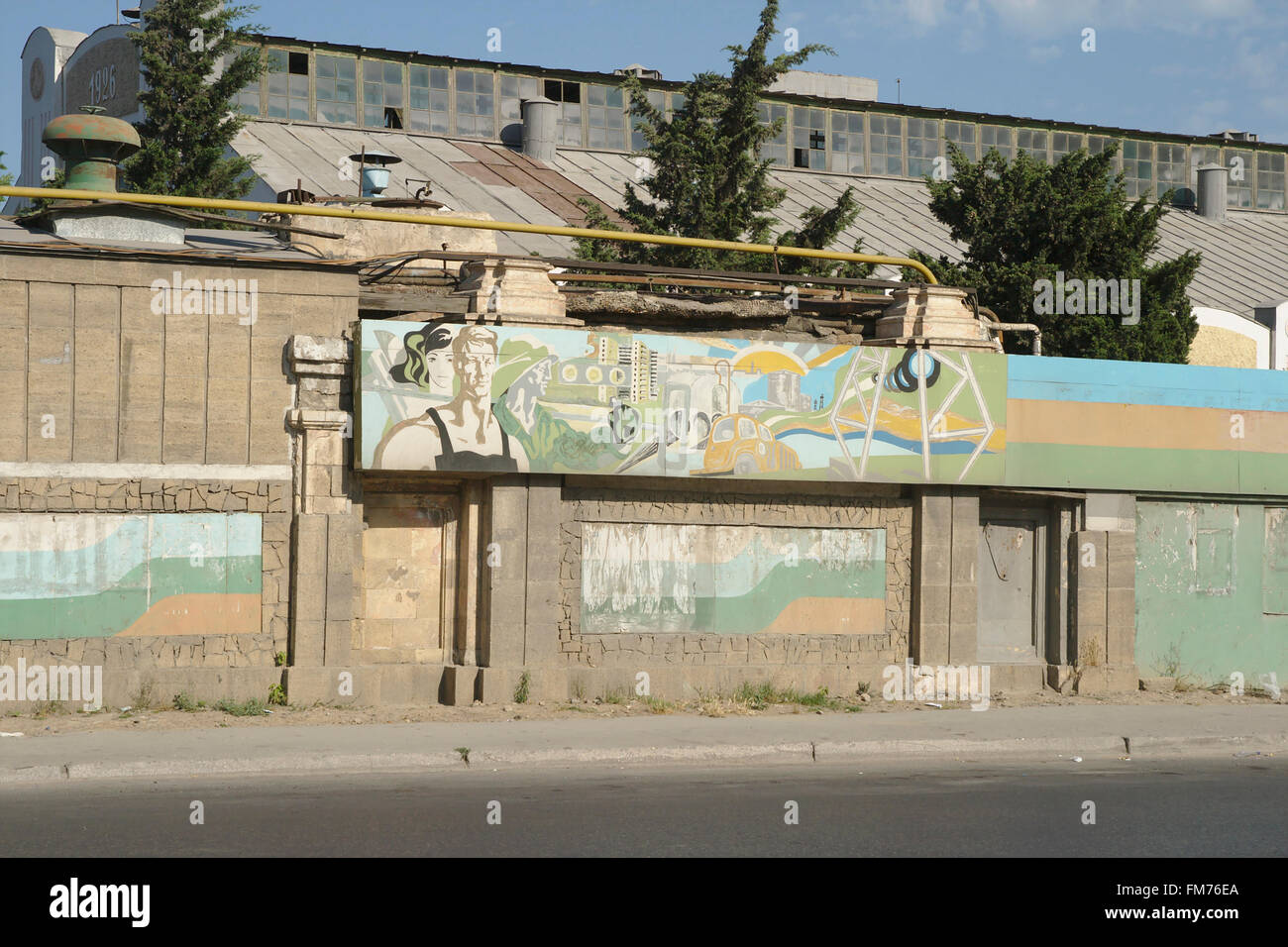 Socialist art in the former petrolchemistry of Sumqayit, Azerbaijan - Stock Image
