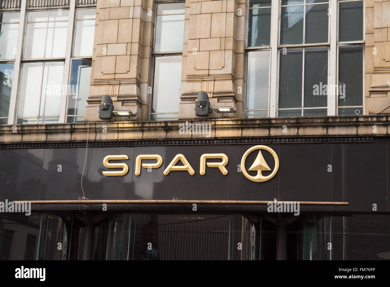 Gold Spar sign above convenience shop in Dublin - Stock Image