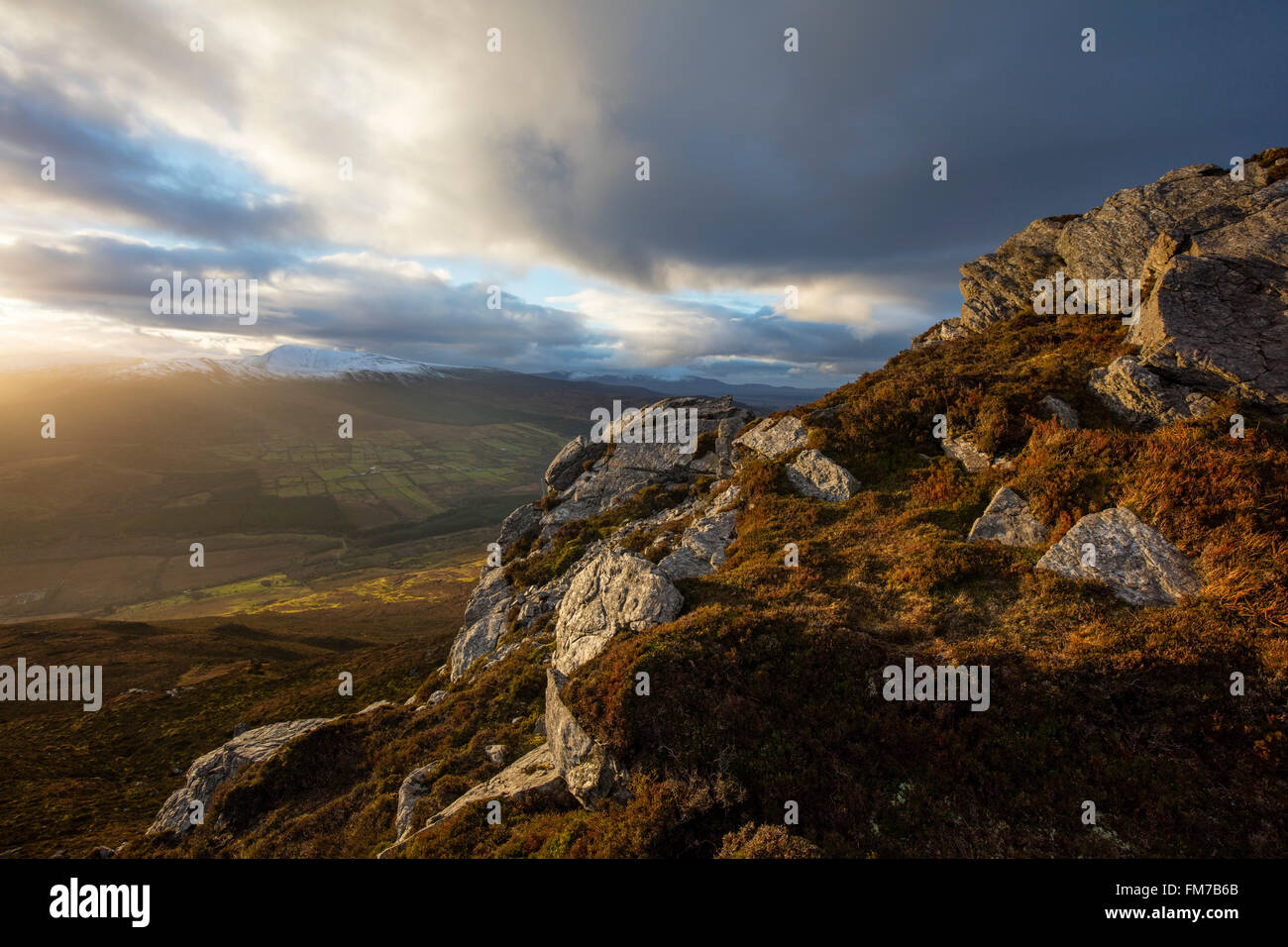 Winter view from Nephin to the Nephin Beg Mountains, County Mayo, Ireland. - Stock Image