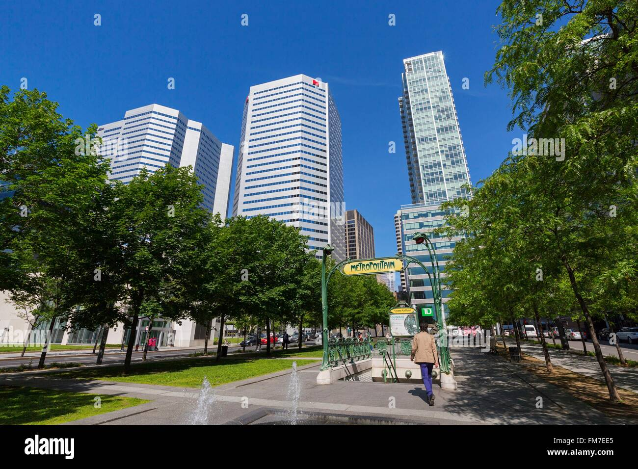 Canada, Quebec province, Montreal, the International Quarter, Victoria Square, Liberty style subway entrance by - Stock Image
