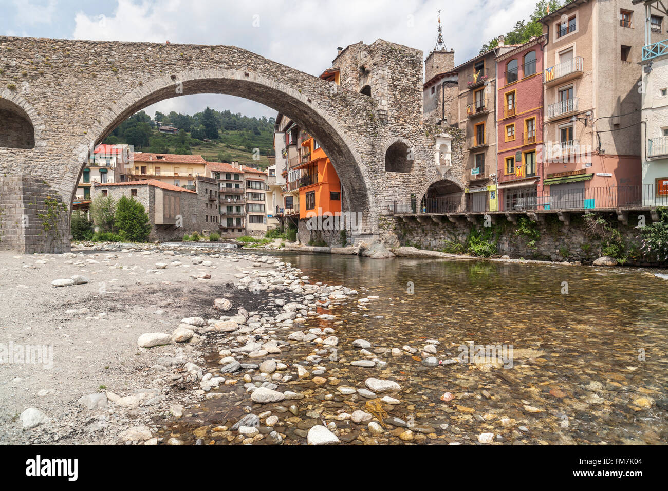 Pont Nou, bridge,Camprodon,Catalonia,Spain. - Stock Image