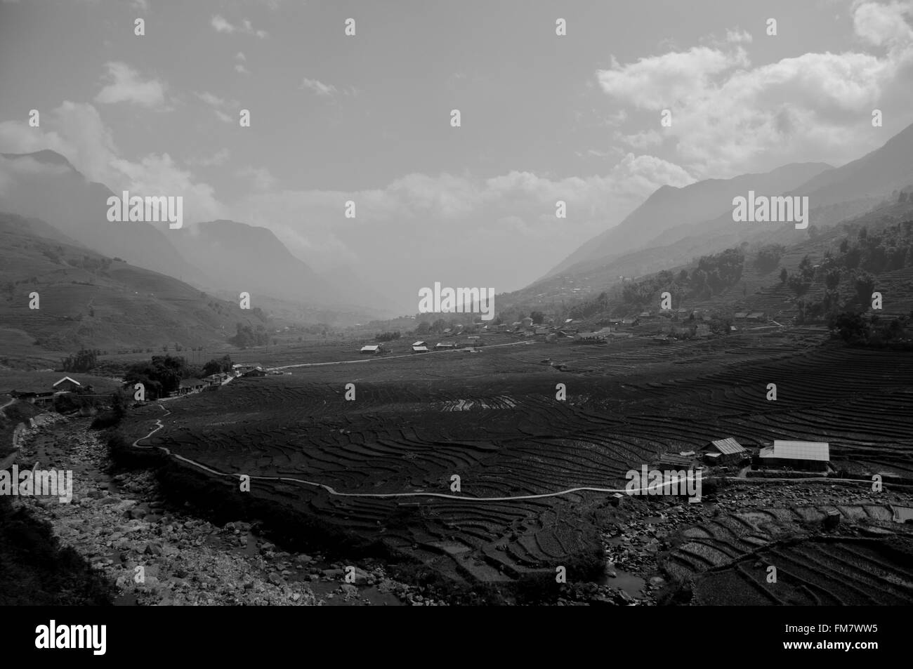 A view of the rice fields and hills of Sapa, Vietnam, converted to black and white - Stock Image
