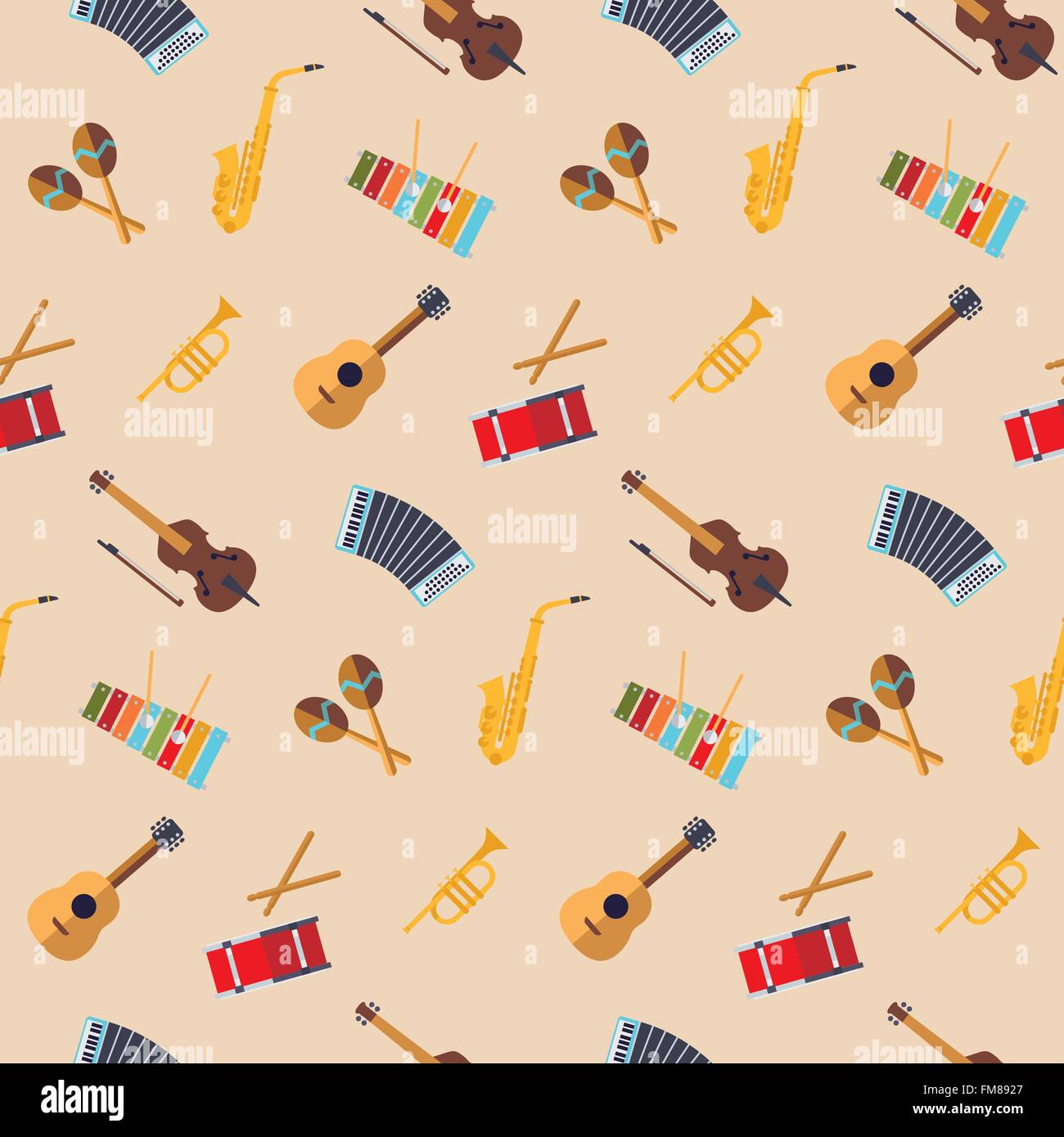Seamless background with flat design musical instruments - Stock Image
