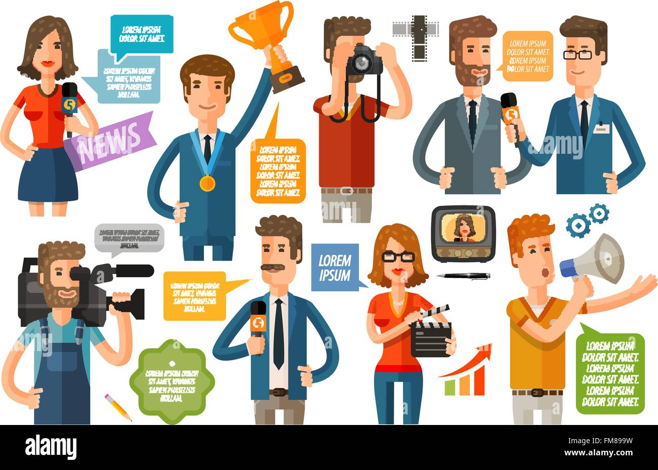 business infographics. journalism and TV icons set. vector illustration - Stock Image