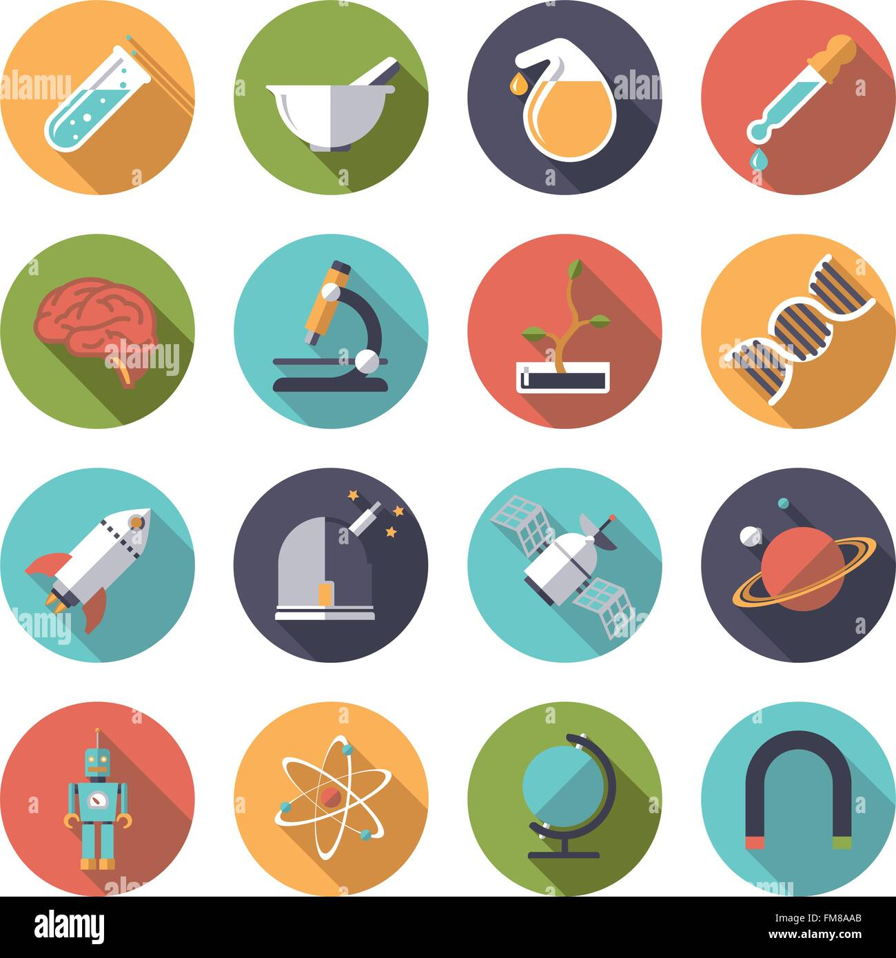 collection of 16 flat design science and research themed icons in