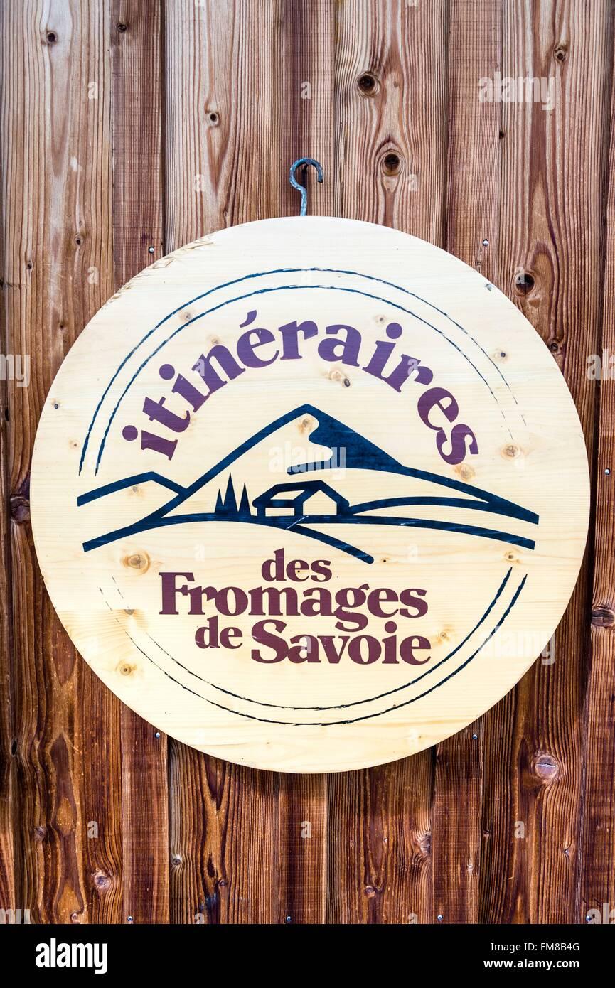 France, Haute Savoie, Morzine, Alpage Ecole Seraussaix, logo - Stock Image